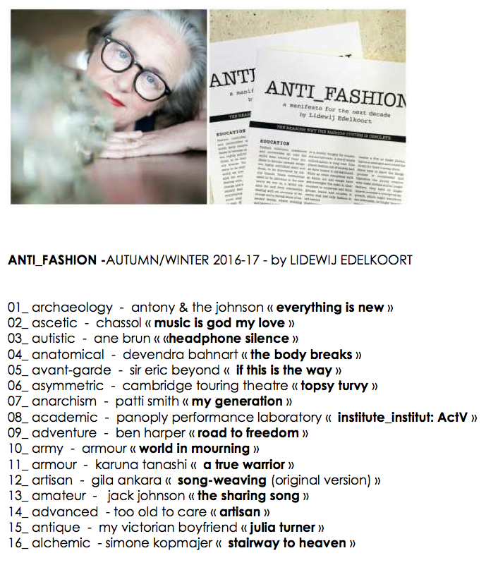 Soundtrack presentation Anti fashion _post in The  Squid Stories blog