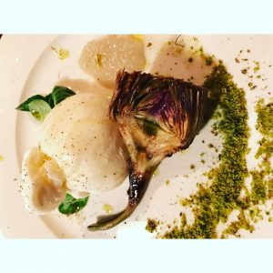 Creamy burata and grilled artichoke lovely food lovely company ghenthellip